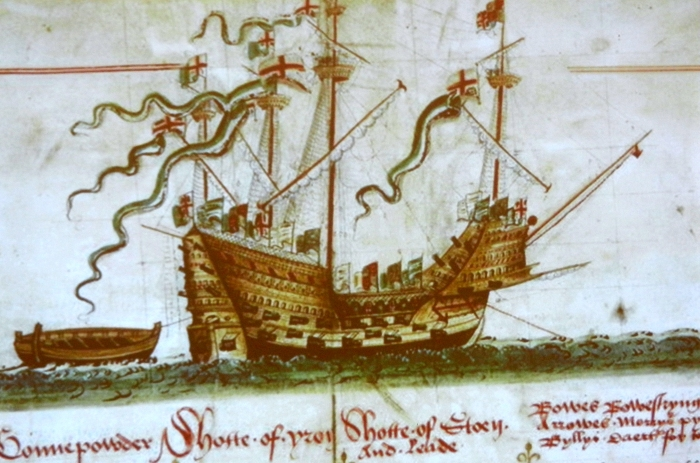 A picture of the Mary Rose painted at the time